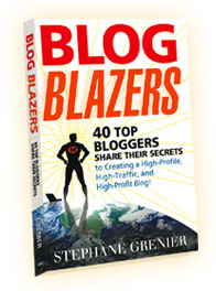 Cover of Blog Blazers book, depicting man with BB on chest standing atop world.